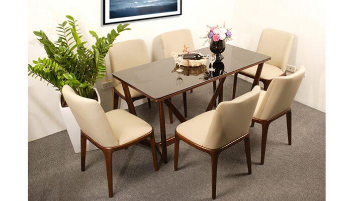 Bộ bàn ăn 6 ghế bọc da