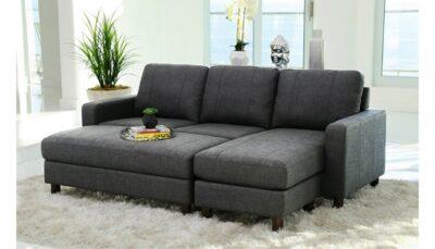 Sofa vải thô xám