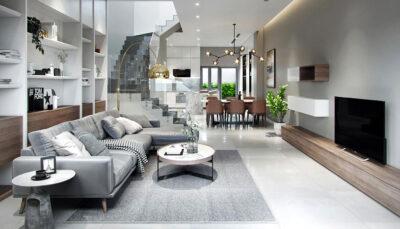 Sofa góc da xám trắng
