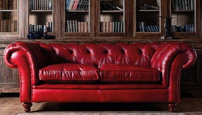 Sofa văng da đỏ mận