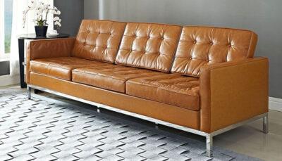 Sofa văng da nâu