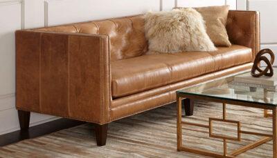Sofa văng da nâu cánh gián