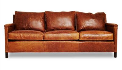 Sofa văng da nâu cam đất