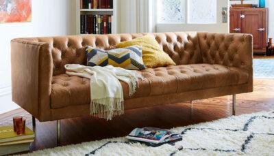 Sofa văng da nâu nhạt