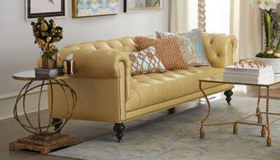 Sofa văng da vàng mỡ gà