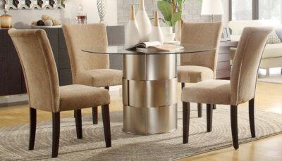 Bộ bàn ăn mặt kính tròn bọc vải