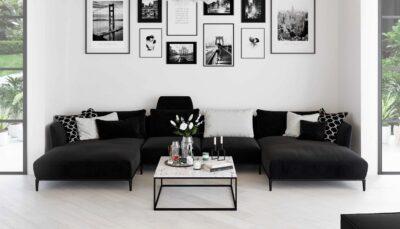 Sofa góc nhung đen