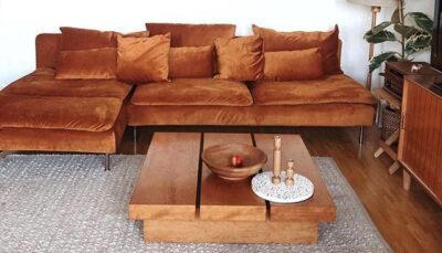 Sofa góc nhung cam đất