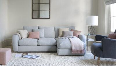 Sofa góc vải xanh lơ sáng