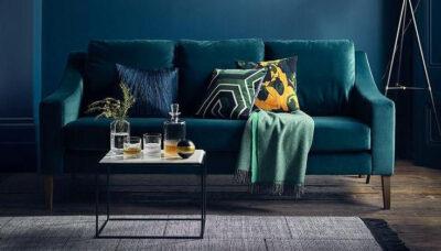 Sofa văng nhung xanh đậm