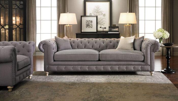 Sofa văng vải thô xám